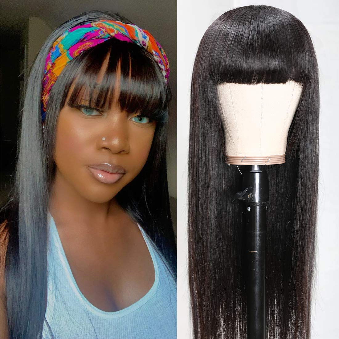 VSHOW Direct store Straight Human Hair Wigs 150% Bangs 18Iches 40% OFF Cheap Sale with Density