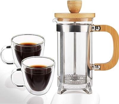 Sivaphe 12 oz French Press Coffee/Tea Maker and 5 OZ Clear Espresso Cups 2 Set