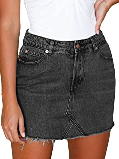 Eliacher Women's High Waisted Jean Skirt Slim Fit Zip Front Elastic Bodycon Denim Mini Skirt