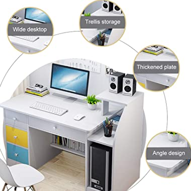 Floenr Laptop Computer Desk Home Office Desk with 4 Drawer Shelf Writing Table Wood Executive Desk Student Desk with File Dra
