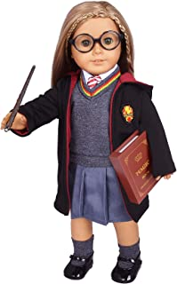 Hermione Granger- Inspired Doll Clothes Shoes for American Girl Dolls: 10pc Hogwarts-Uniform Set With Imitate Magic Book and Glasses