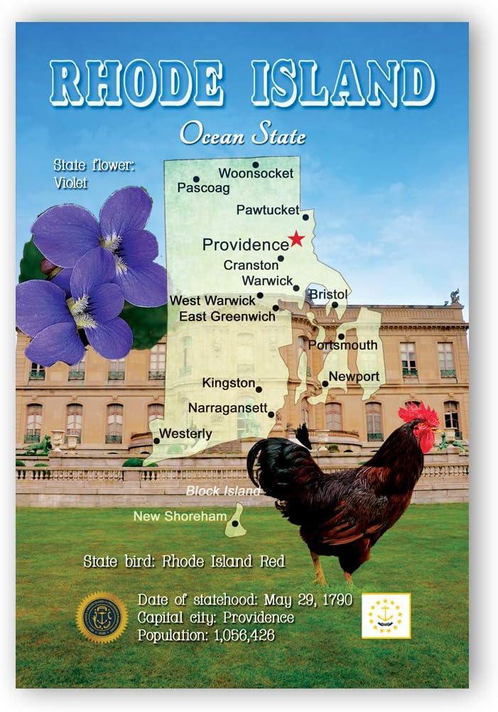 RHODE ISLAND 1 year warranty MAP postcard set of postcards. 20 RI stat Ranking TOP17 identical
