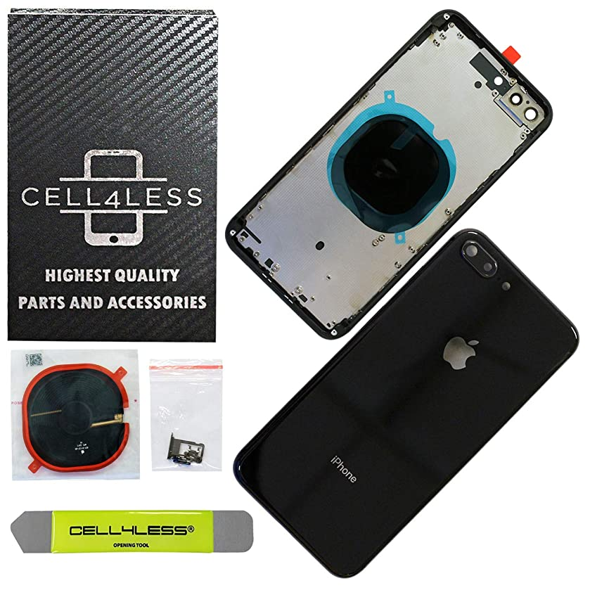 CELL4LESS Back Housing Assembly Metal Frame w/Back Glass - Wireless Charging pad - Sim Card Tray and Camera Frame w/Lens Compatible Only with iPhone 8 Plus (Space Gray)