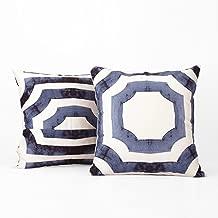 PRTW-D23B-CC20PR Mecca Printed Cotton Cushion Cover- Pair, Blue, 20 x 20