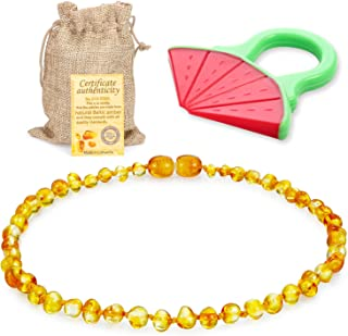Raw Baltic Amber Teething Necklace for Babies - (Honey) Anti-Flammatory, Drooling & Teething Pain Reduce Properties & Natural Certificated Oval Baltic Jewelry for Christmas¡…