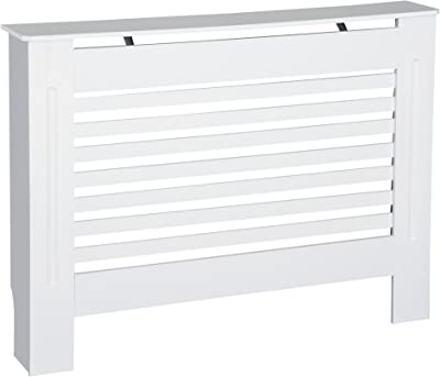 HOMCOM Cache-radiateur en MDF Blanc 112 x 19 x 81 cm, Bois, 112L x 19W x 81H cm