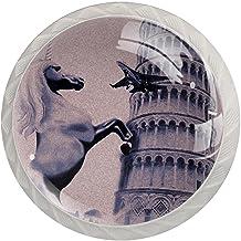 Lade knop Pull Handle 4 stuks Crystal Glass Cabinet lade trekt kast knopen,Eenhoorn Italië scheve toren van Pisa