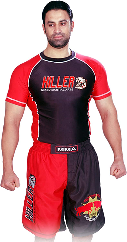 Woldorf USA Rash Guard Black/Red Half Sleeve Size M Killer Logo Sparring Fitness Rash Guards Grappling, Kickboxing Rash Guards, Fighting, Muay Thai Training Rash Guards