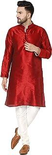 SKAVIJ Men's Tunic Art Silk Kurta Pajama Set Indian Traditional Wear (XL, Red)