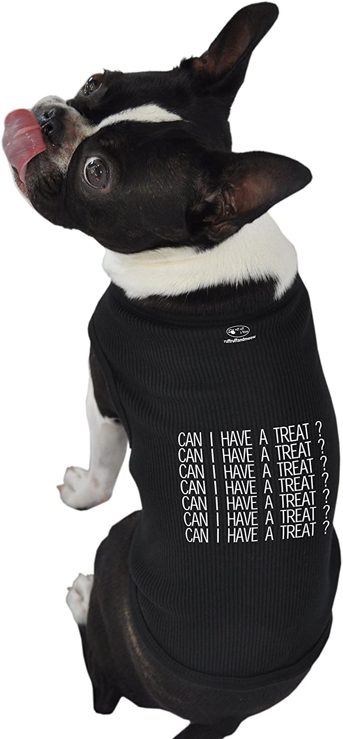 Ruff Ruff and Meow ExtraSmall Dog Tank Top, Can I Have a Treat, Black