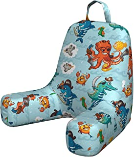 Ambesonne Pirates Husband Pillow, Pirates Crocodile Octopus Shark Crab Seagulls Parrot Bottle of Rum Cartoon Style, Waist Rest Cushion with Visco Foam and Back Pocket, Small, Multicolor