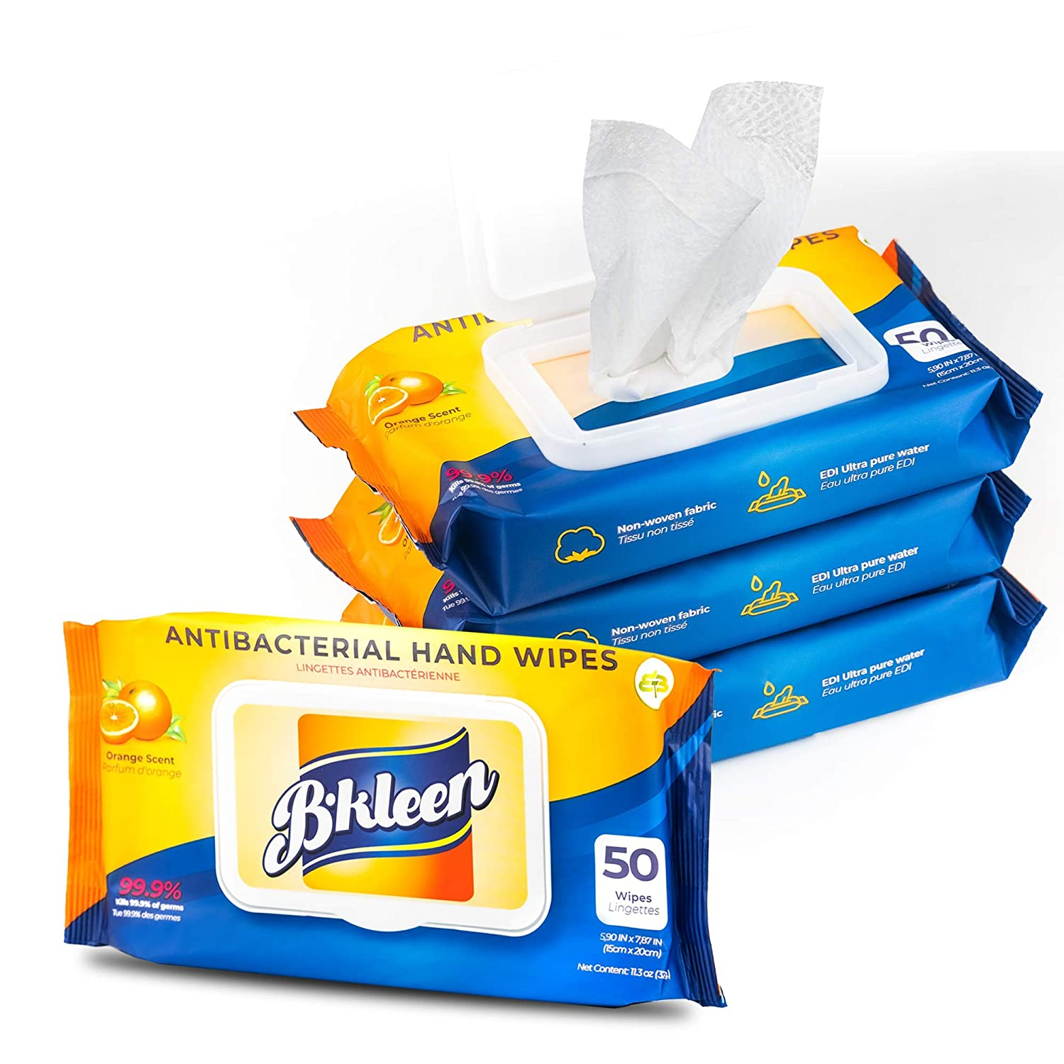 B.kleen Hand Wipes, Orange Scent, 4-Pack of 50 wipes (total 200 wipes) : Beauty