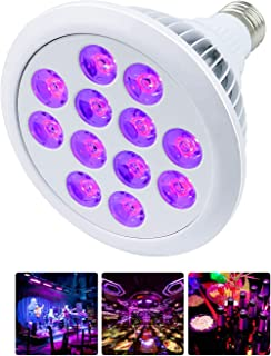 Mrhua Black Light Bulb, 24W 12 LED UV Bar E26 E27 PAR38 for Home Party Stage Neon Glow Blacklight Party Birthday Stage Body Paint Fluorescent Poster Wedding Lighting