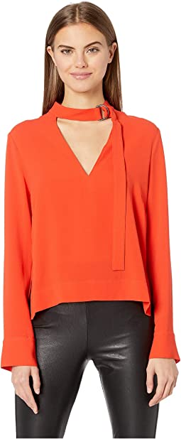High-Low Neck Tie Blouse
