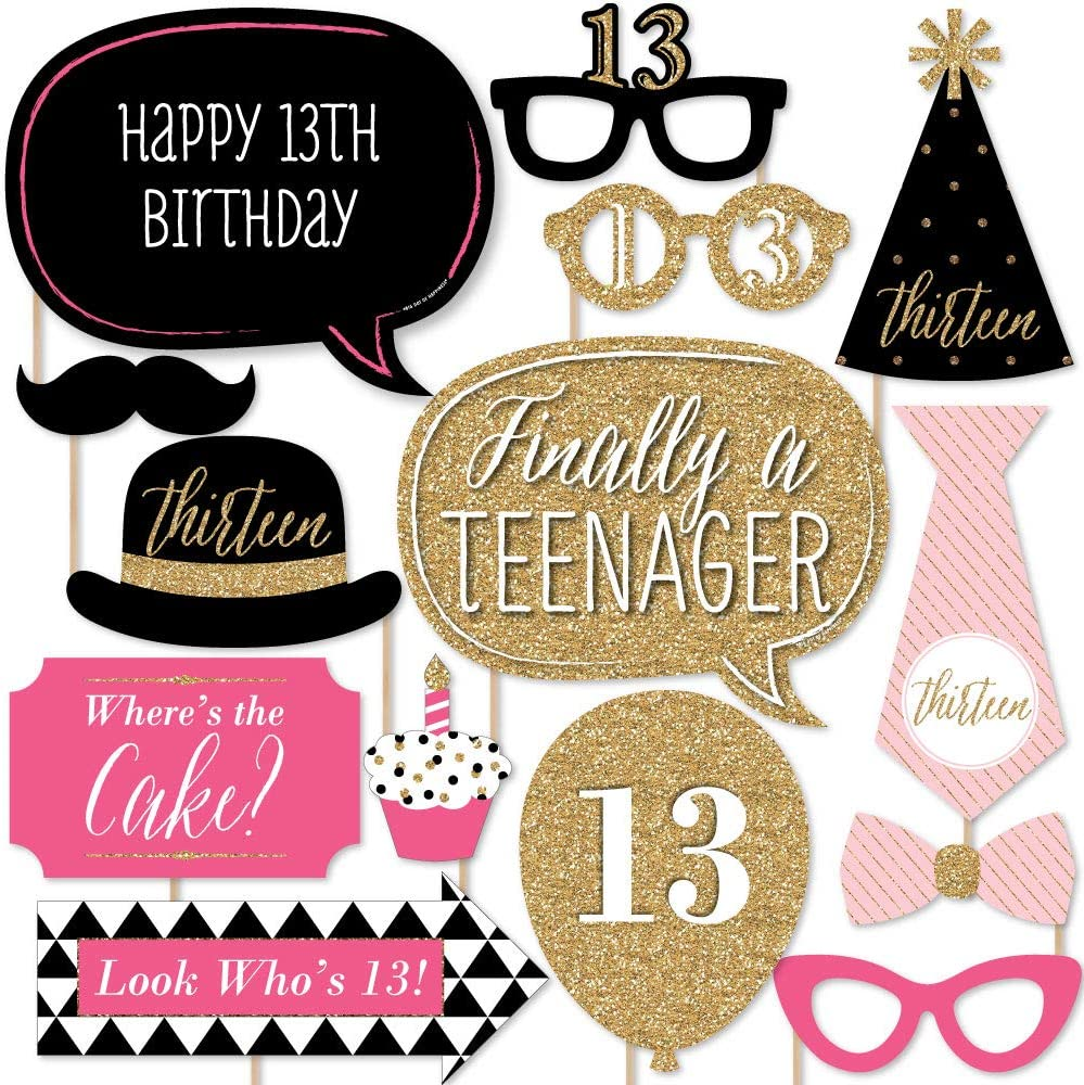 Amazon Com Chic 13th Birthday Pink Black And Gold Photo Booth Props Kit 20 Count Home Kitchen