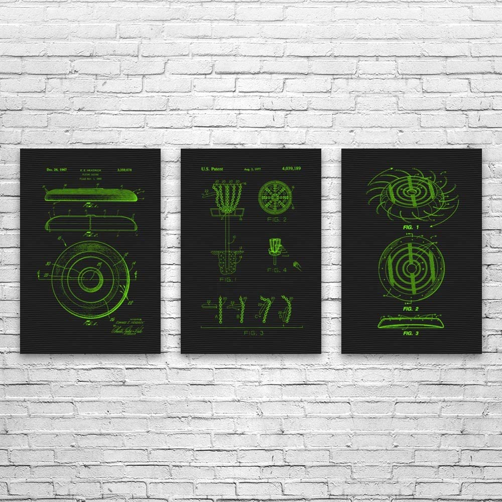 Patent Earth Disc Golf Limited price sale Posters 5 ☆ popular Set of Frisbee 3