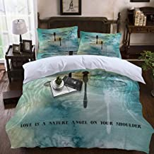 4pcs Twin Duvet Cover Love is A Nature Angel On Your Shoulder Ink Dtyle Dragonfly Pattern Ultra Soft Microfiber Hotel Collection Comforter Cover Set with Zipper Closure and 2 Pillow Shams