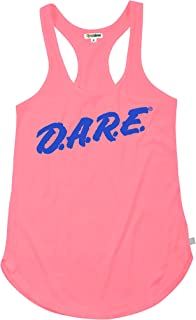Women's Neon Pink Dare Retro Tank Top Shirt - 80's Halloween Costume Shirt