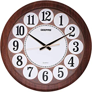 Geepas GWC4803 Wall Clock, White and Brown