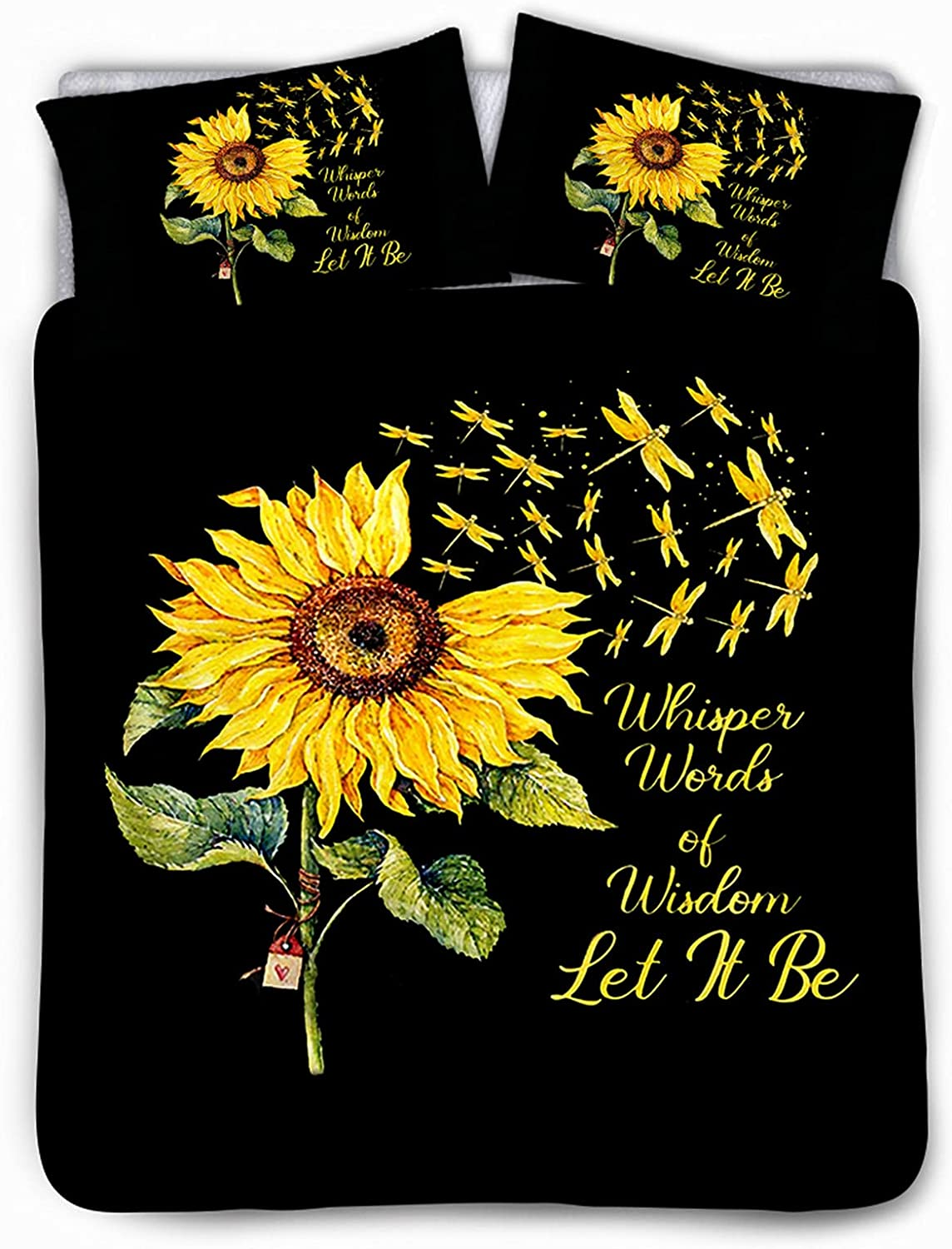 Special sale item Belidome Sunflower Dragonfly Duvet Cover Full Sh of Manufacturer direct delivery 3 Pillow Set