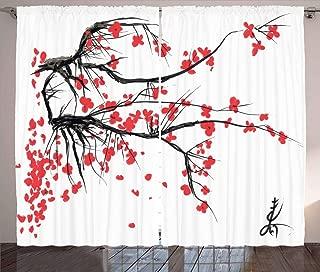 Ambesonne Nature Curtains, Sakura Blossom Japanese Cherry Tree Garden Summertime Vintage Cultural Print, Living Room Bedroom Window Drapes 2 Panel Set, 108