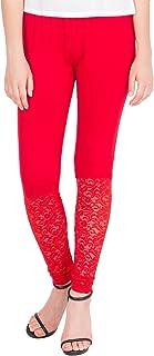 American-Elm Women's Viscose Designer Lace Legging- Red