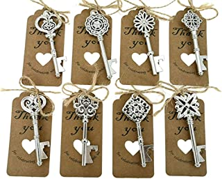 80pcs Skeleton Key Bottle Opener Wedding Party Favor Souvenir Gift with Escort Tag and Jute Rope(Silver Tone,8 styles)
