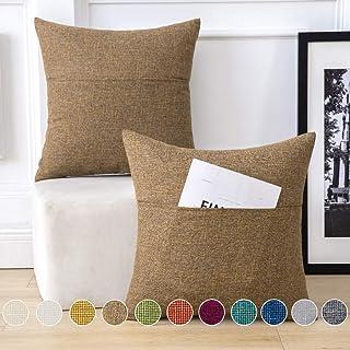 MIULEE 2 Piezas Funda de Cojines Lino con Diseño Bolsillo Funda de Almohada Cuadrada Poliéster para Sofá Silla Cama Decorativas Modernas para Hogar Sala de Estar 45x45cm Café
