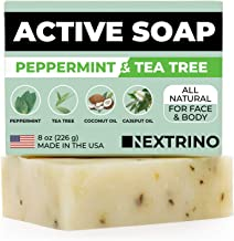 Tea Tree Soap with Peppermint! Made in the USA: All Natural, Vegan Bar Soap with Organic Oils for Face & Body. Wash Away Odor & Germs (Single 4 Ounce Soap Bar)