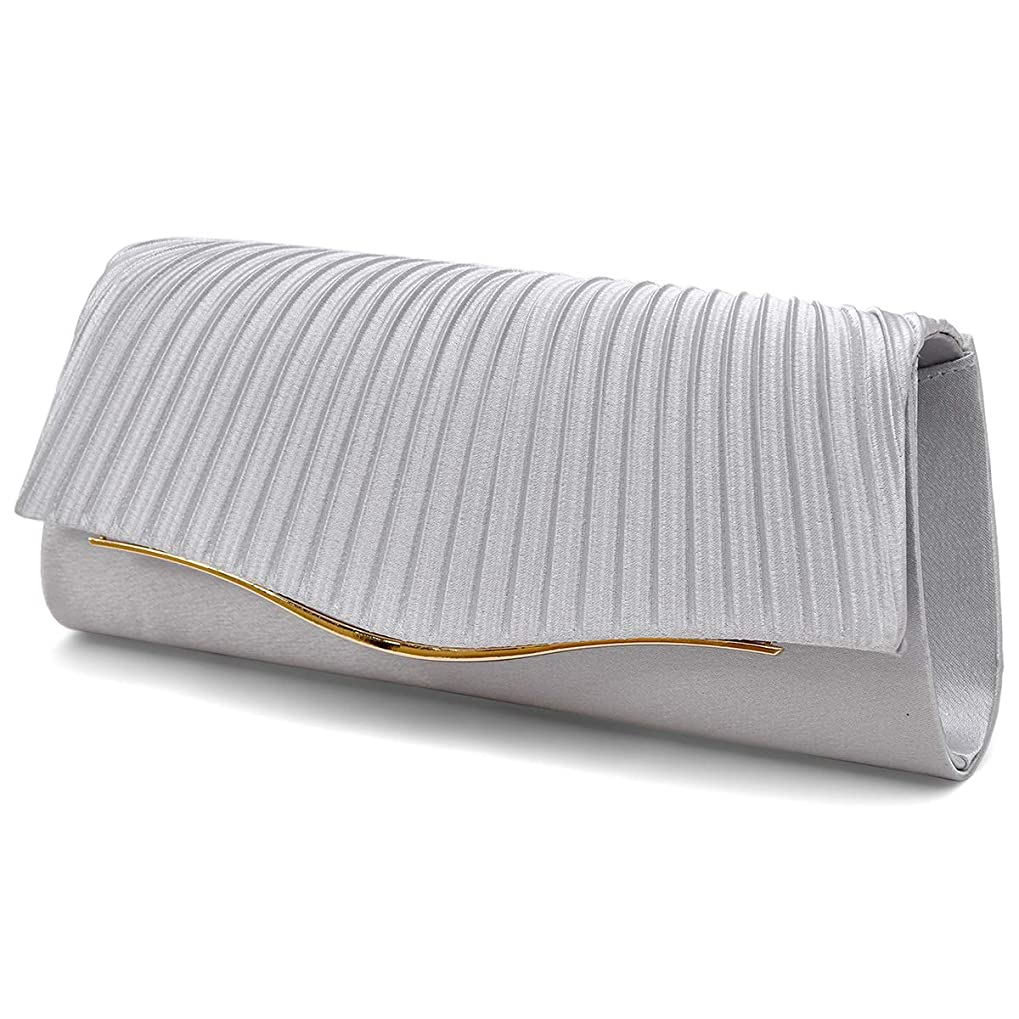 タンザニア納税者バラバラにする3way パーティーバッグ プリーツ ギャザー デザイン クラッチバッグ 2サイズのチェーン レディース バッグ [プレックス] Evenig Clutch