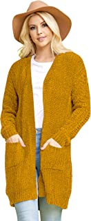 Made By Johnny MBJ Women's Open Front Long Cardigan Soft Cozy Knit Sweater