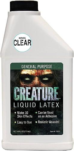 Creature Liquid Latex - CLEAR - General Purpose Professional Special Effects Liquid Latex - 16oz - Dries CLEAR