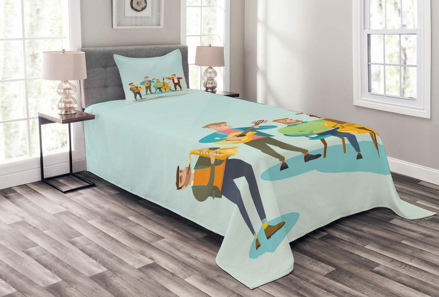 store Ambesonne Music Bedspread Cartoon Graphic Musicians of Ranking TOP15 Happy Ba