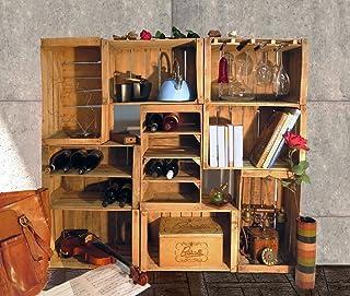 Cassette della Frutta, Portabottiglie, Libreria, Arredo Wine Bar Modulare composto da 9 Casse vintage, Shabby, Arredamento...