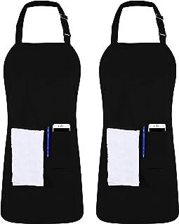 پیش بند قابل تنظیم آشپزخانه آرایشی Utopia با 3 جیب - رستوران تجاری و پیش بند آشپزخانه خانگی - بند گردن قابل تنظیم - کراوات طولانی طولانی - سیاه سخت (1)
