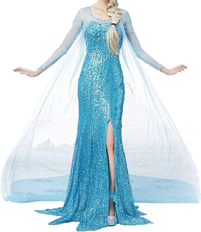 NIYIGEJI Women Halloween Cosplay Frozen Elsa Princess Costume Girls Fancy  Party Dress Up
