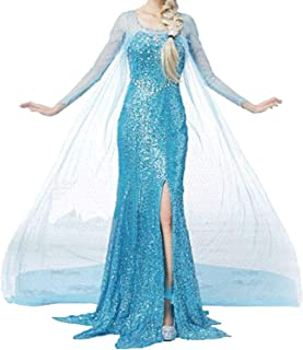 Women Halloween Cosplay Frozen Elsa Princess Costume Girls Fancy Party Dress Up