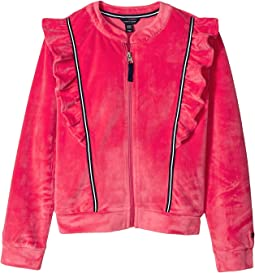Ruffle Velour Track Jacket (Big Kids)