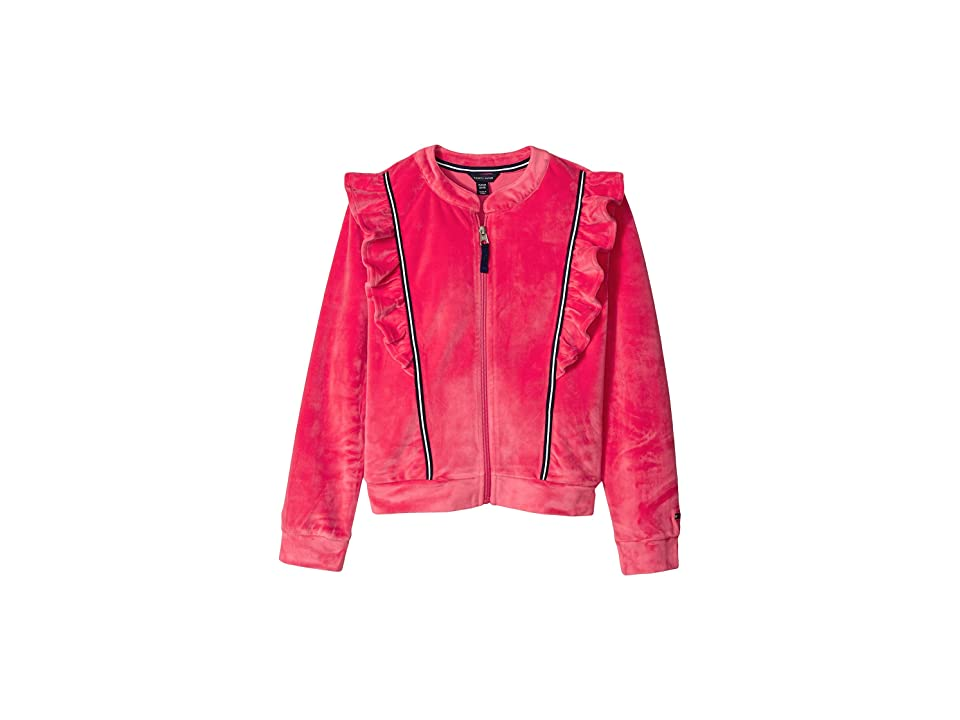 Tommy Hilfiger Kids Ruffle Velour Track Jacket (Big Kids) (Paradise Pink) Girl