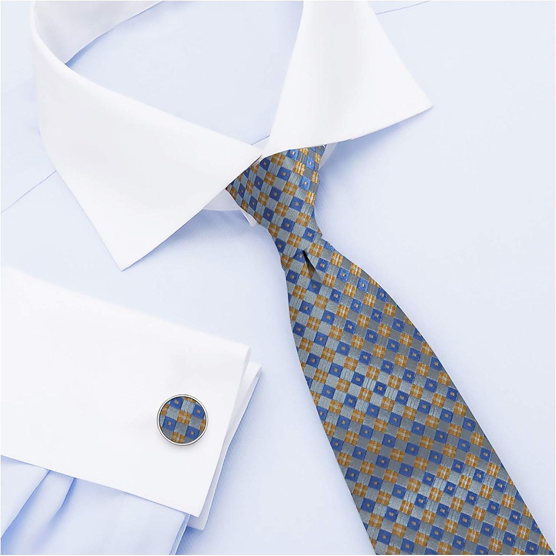 Y&G Men's Fashion Checkers Necktie with Box Mens Silk Tie Cufflinks set