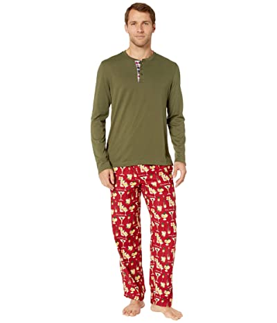 Tommy Bahama Cheers Long Sleeve Flannel PJ Set (Holiday Cheer Red) Men