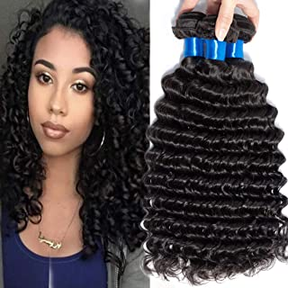 Cranberry Hair Virgin Human Hair Extensions Weave Weft Unprocessed Brazilian Virgin Hair Deep Wave Nature Color 3 Bundles 12 14 16inch (100+/-5g)/bundle Can be Dyed and Bleached