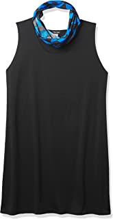 Star Vixen Women's Plus Size Sleeveless Black Ponte Sheath Dress with Ity Knit Chevron Infinity Scarf