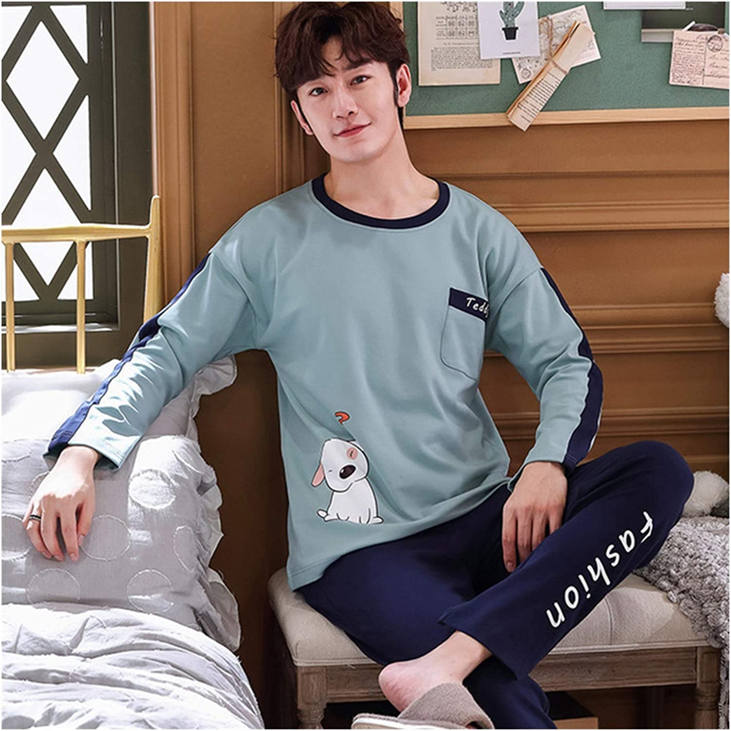 hgkl Selling and selling Men's Pajama San Francisco Mall Pajamas Suit Cotton Cartoon Home Service