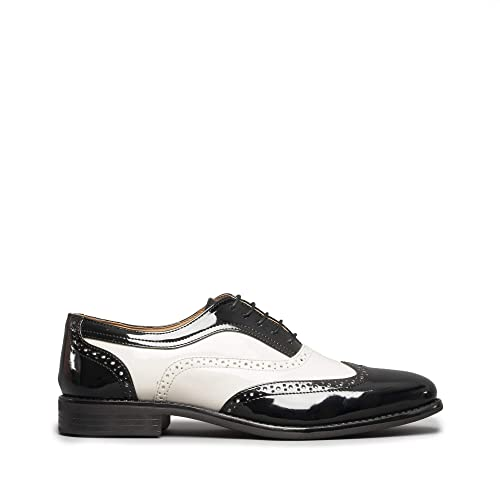 34c6f5eb8213 Mister Carlo Baggio Mens Semi Brogue Patent Shoes Black White