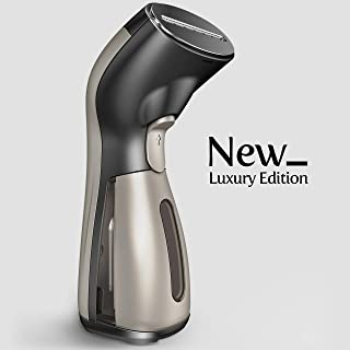 iSteam Steamer for Clothes [Luxury Edition] Powerful Dry Steam. Multi-Task: Fabric Wrinkle Remover- Clean- Refresh. Handheld Clothing Accessory. for All Kind of Garments. Home/Travel [MS208 Gold]