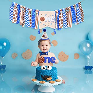 Vansolinne Milk and Cookies Highchair Banner Baby Boys 1st Birthday Party Supplies Blue Brown Cake Topper Cone Hat Chocolate Chip Cookie Cake Smash Photo Props Decorations, Set of 3