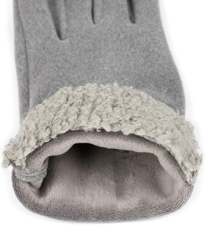 styleBREAKER Guantes para damas con pantalla t/áctil con pelaje de peluche en el dobladillo y forro polar invierno 09010034 guantes de abrigo