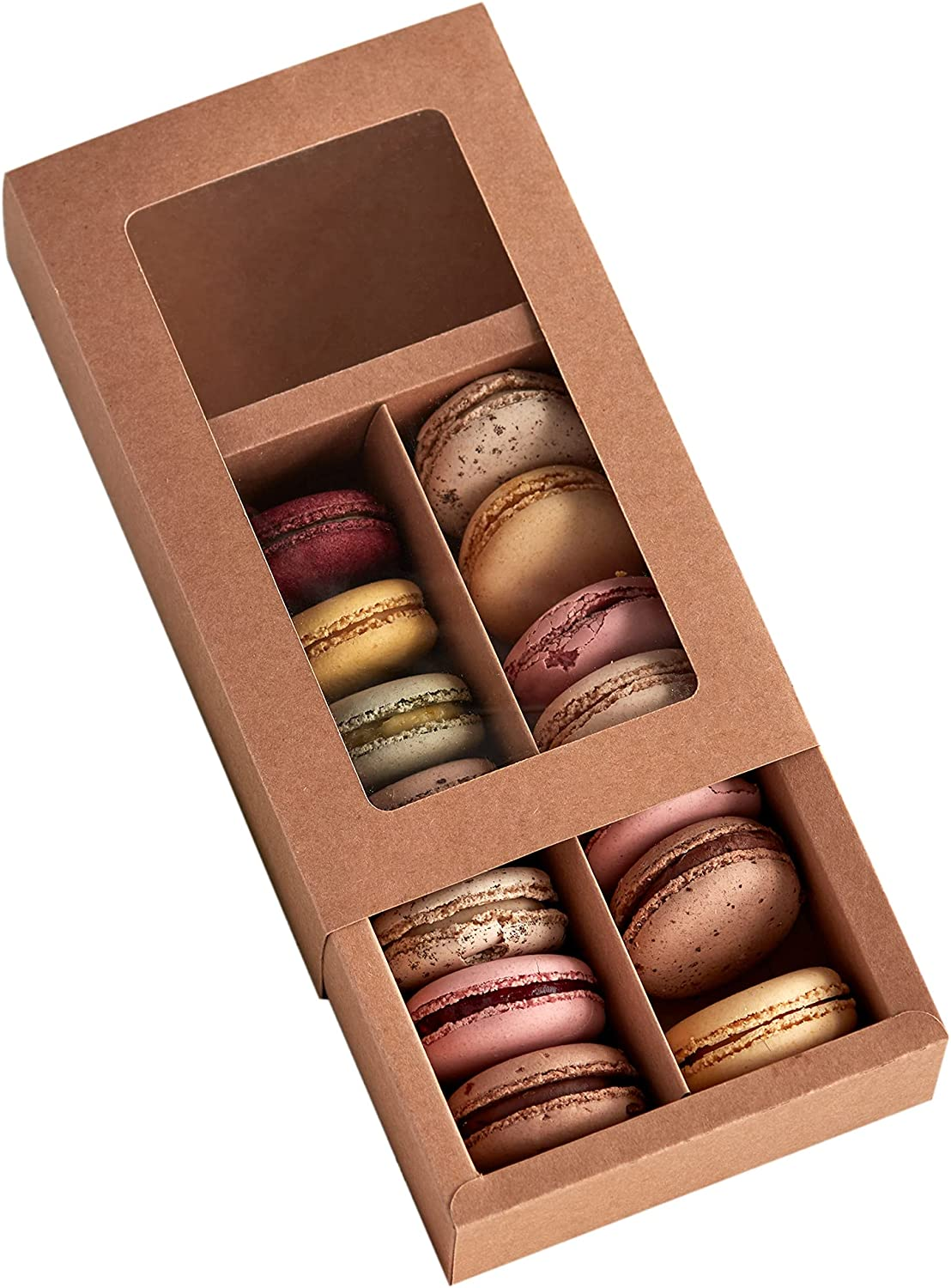 Essos Macaron Boxes for 12 Ranking TOP4 to Clear 14 with Display 67% OFF of fixed price Kraft Brown