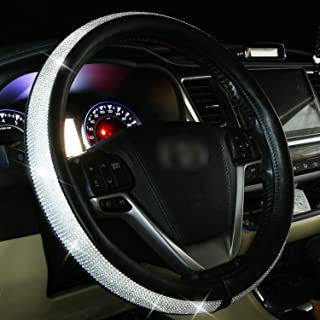 Diamond Leather Steering Wheel Cover for Women Girls with Bling Bling Crystal Rhinestones, Universal Fit 15 Inch Anti-Slip Wheel Protector (Silver)
